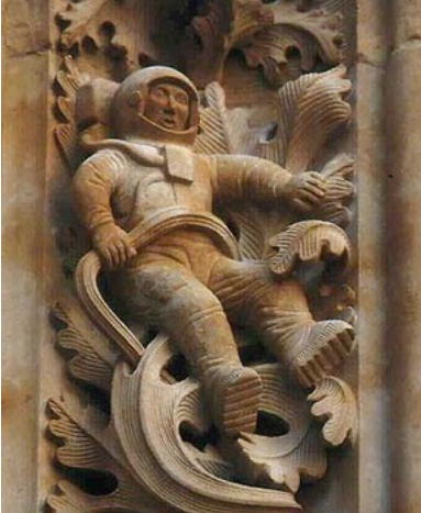 Astronaut at the portal of  Salamanca's New Cathedral, Spain